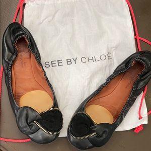 Black Leather Chloé Bow Flats
